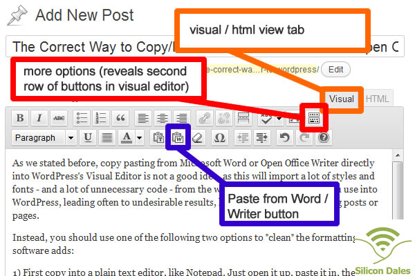 Pasting from Microsoft Word, or Open Office Writer, in WordPress
