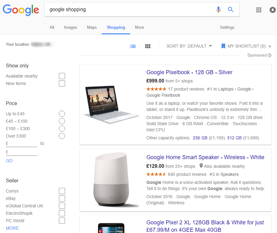 Google Shopping screenshot showing google products such as pixel