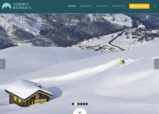 Summit Retreats homepage screen grab