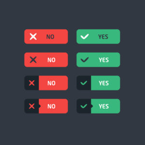 Yes and no icons red and green