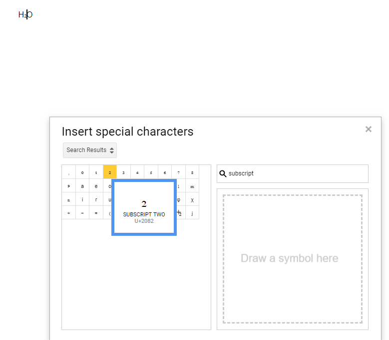 using the special characters tool to do subscript in Google Docs