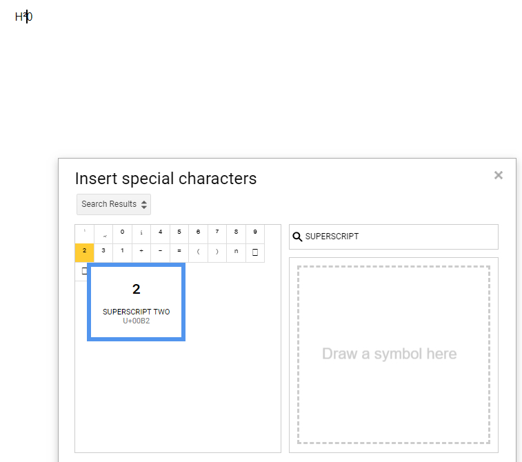 special characters superscript in google