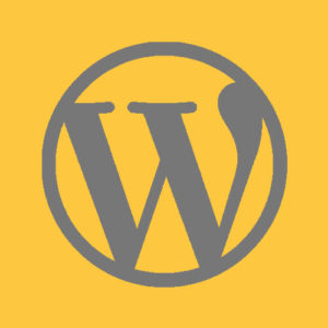 WordPress logo in a yellow square