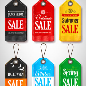 Different sales tags for spring summer christmas and black friday