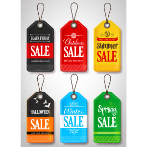 Different sales tags for Christmas, Winter, Summer, Spring, Halloween, Black Friday