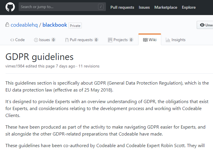 gdpr wiki codeable at GitHub