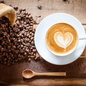 Coffee latte and coffee beans