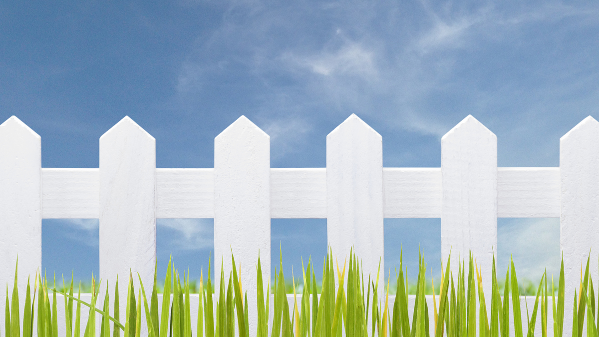 White picket fence with grass and blue sky