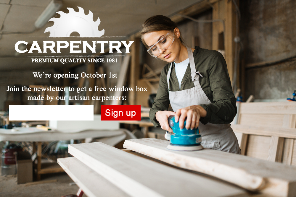 carpentry coming soon page