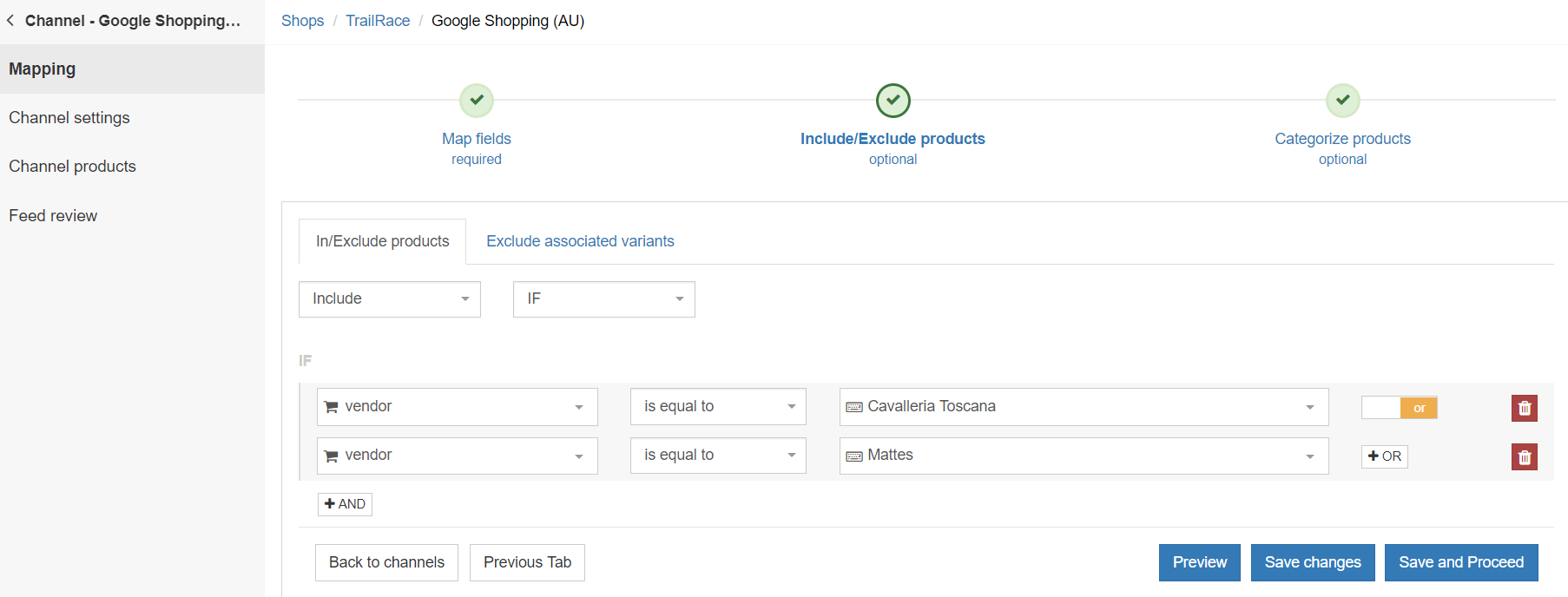 exluding or inlcuding product sin google shopping feed