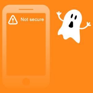 a frightened ghost looking at an insecure website warning