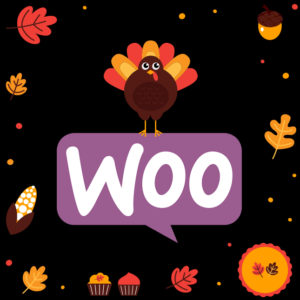 WooCommerce celebrating Thanksgiving with a turkey and pumpkin pie