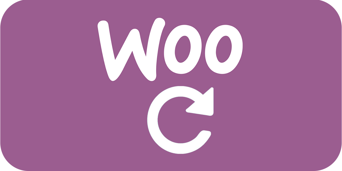 woo words logo with update icon against woocommerce purple background
