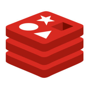 Redis logo a red stack with star, circle, triangle and square hole