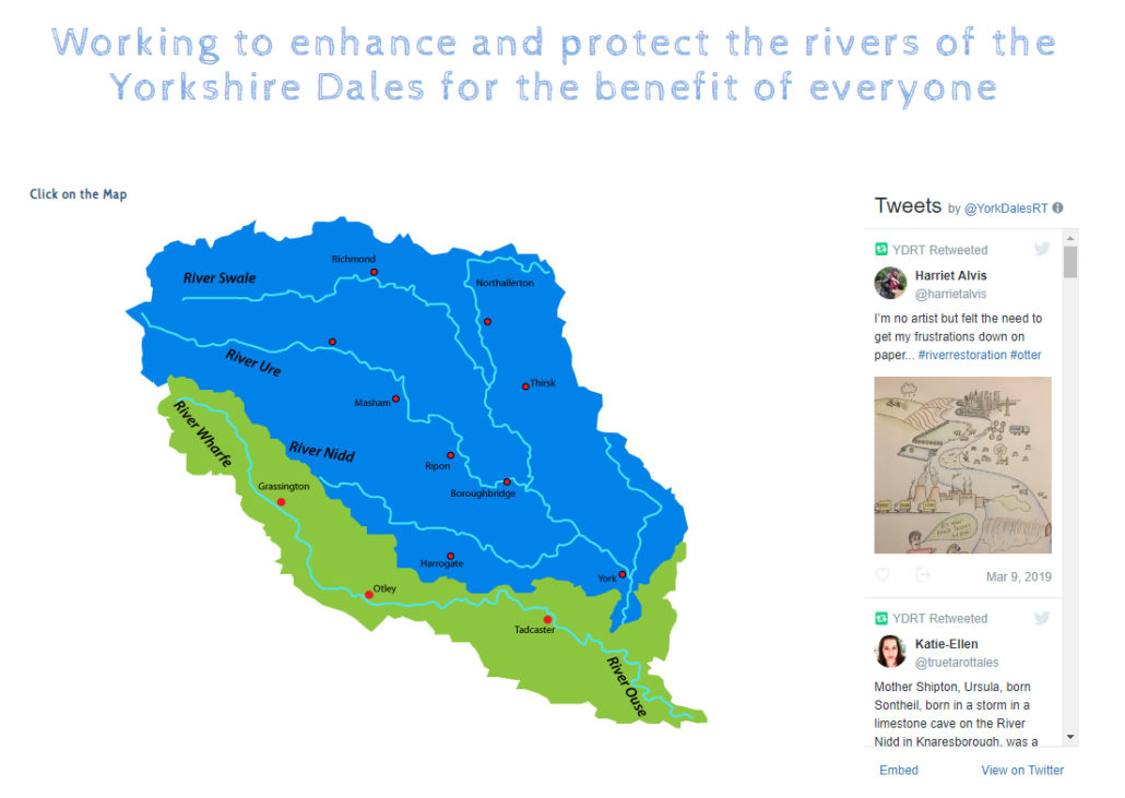 Yorkshire Dales Rivers Trust interactive catchment map