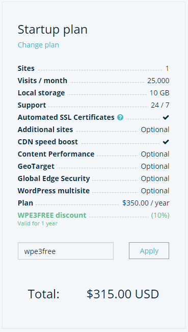 WP Engine checkout with WPE3FREE