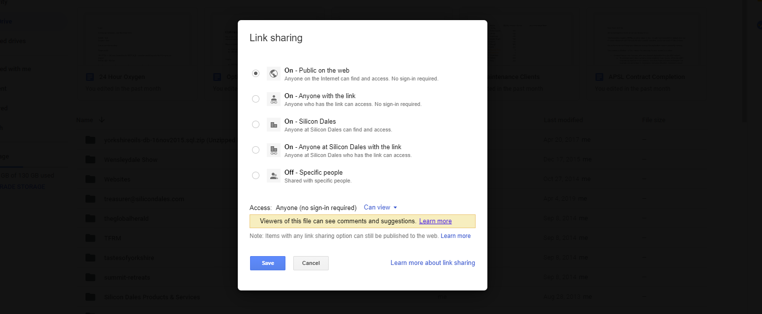 Google Drive - public on the web selection option
