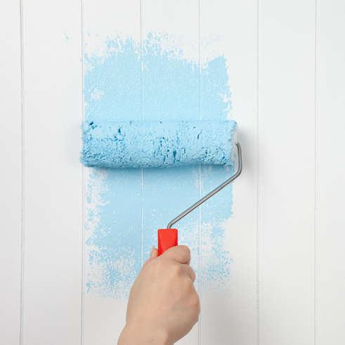 first paint - real blue paint on a wall
